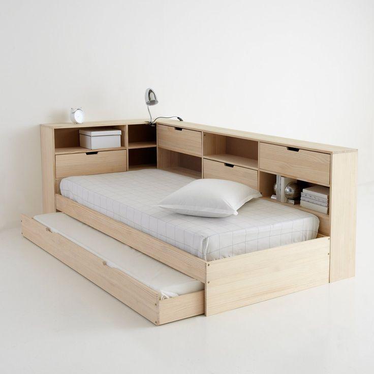 Lit avec tiroir, étagères et sommier, pin massif, Yann La Redoute Shopping Prix | La Redoute