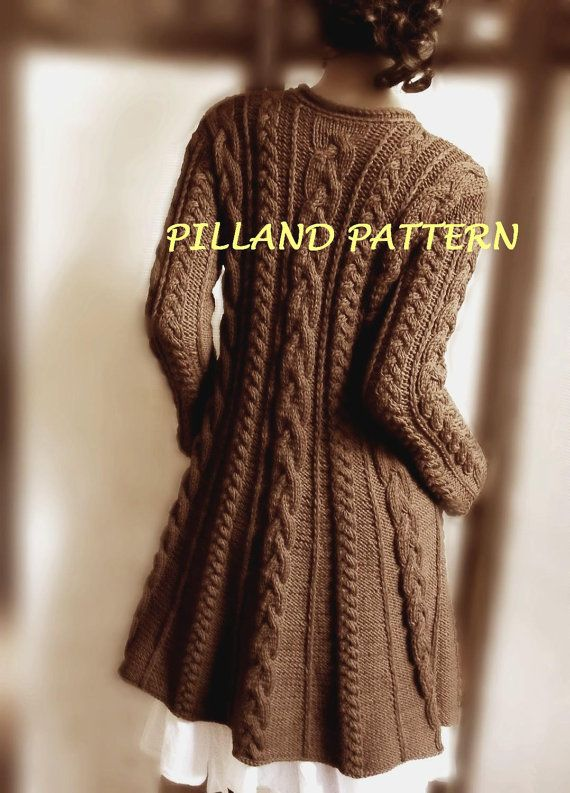 Merino Wool Sweater Coat knitting pattern. Long cardigan sweater knit pattern. A lined shape, hidden automatic buttons, all-over cable knit