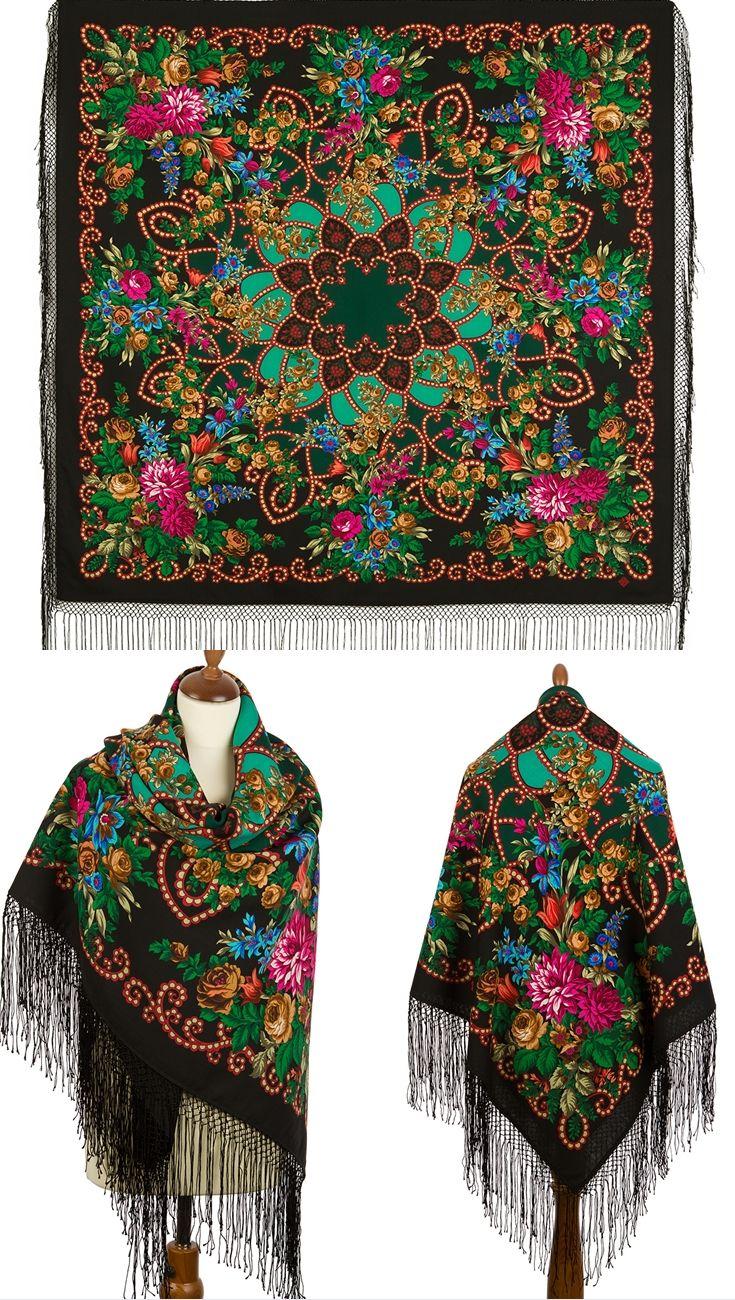 Evening wool Russian Pavlovo Posad Boho shawl