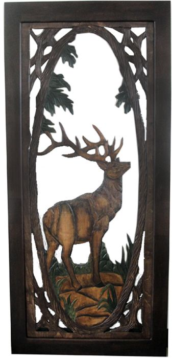 "Rustic Carved Screen Door with Elk Item #SD00107 36""W x 80""T x 1""D Single Sided Carving - $1195 Add $495 for Double Sided Carving."