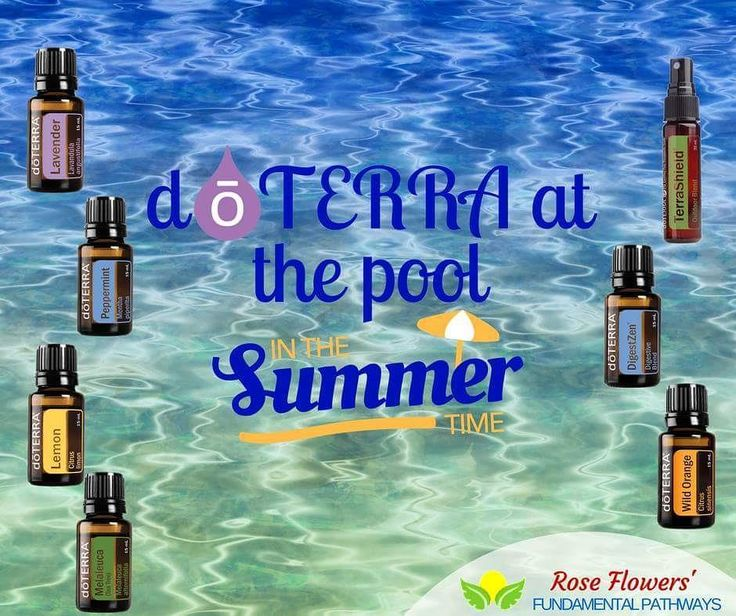 Even though school is starting very soon it is technically still summer until the mid-end of September. Have fun stay refreshed and remember these essential oils when heading to the pool.  Lavender: Soothes sun worn skin Peppermint: Cools you down Lemon: Chlorine detox & fruit/veg wash Melaleuca: Swimmer's ear cut/scrape cleaner TerraShield: Non-toxic bug repellent  DigestZen: Motion sickness/indigestion Wild Orange: Recharge (combine with Peppermint for an even bigger exhilarating burst!!)…