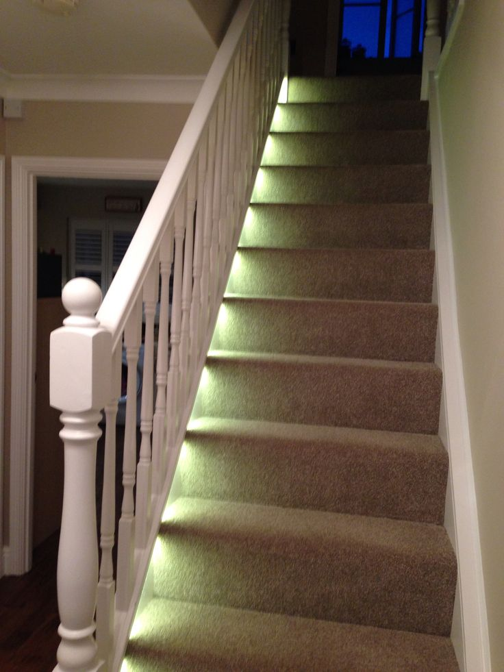 Style on a budget! Concealed self adhesive LED warm white striplights concealed to one side of the stairs! All this for under £15, bargain!
