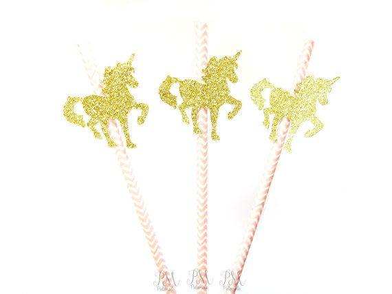 25 Pale Pink Chevron Paper Straws with Gold Glitter Unicorn - wedding, engagement, birthday, baby shower, tea party