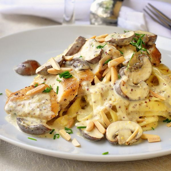 Dijon Chicken Linguine with Crimini Mushrooms and Toasted Almonds