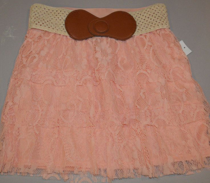 Women's Rue 21 Peach Coral Lace Ruffles Elastic Waist Skirt Juniors Sizes S, M #rue21 #Tiered