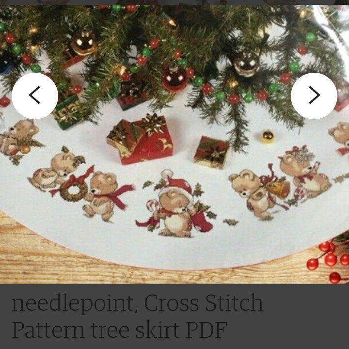 Christmas Tree Skirt Teddy Bear Pattern Cross Stitch Etsy Christmas Tree Skirt Christmas Tree Skirts Patterns Cross Stitch Patterns