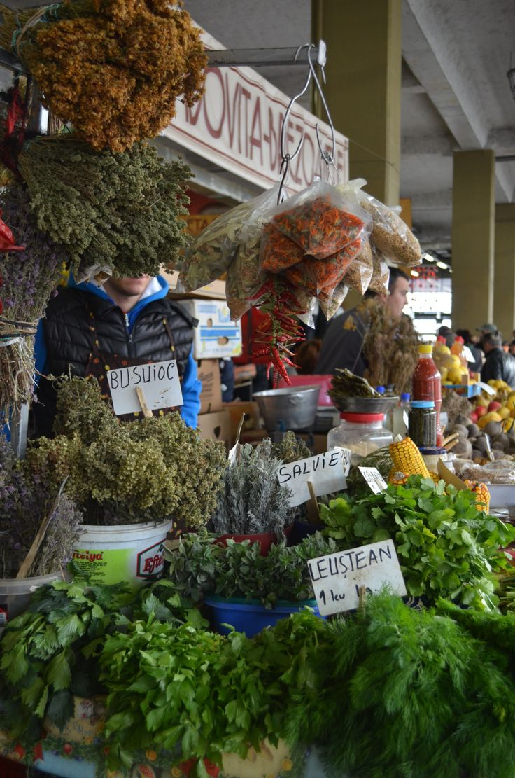 Herbs, herbal tea and chilies at a farmer's market in Bucharest