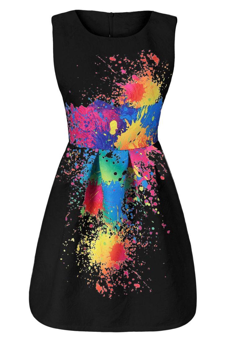 $18.37 Splatter Print Sleeveless Tulip Dress - Black