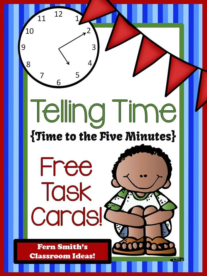 Fern Smith's Classroom Ideas FREE Telling Time Task Cards - Teaching and Blogging with Time Zones and a Free Mixed Time To the Five Minutes Task Cards.