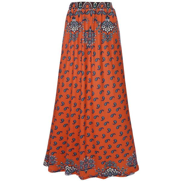 Special Flared Maxi Skirt In Paisley Tribal Printed ($32) ❤ liked on Polyvore featuring skirts, red maxi skirt, long skirts, tribal maxi skirt, ankle length skirts and long flared skirt