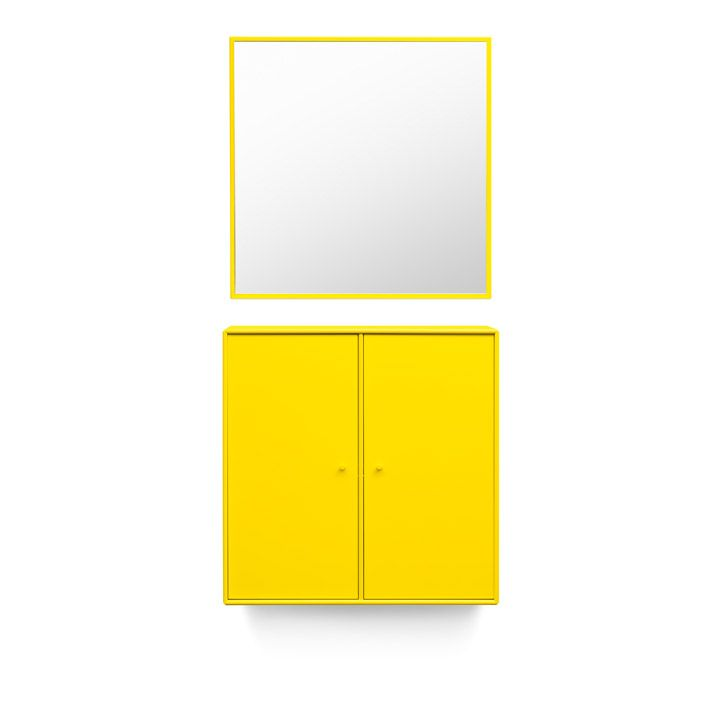 WELCOME –  entrance hall furniture that always welcomes you. Cabinet and mirror in Tokyo Yellow. #montana #furniture #yellow #danish #design #scandinavian #nordic #entrance #hallway #interior