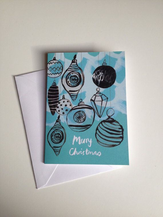 Illustrated Baubles Christmas Card by SarahDouglasArt on Etsy