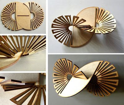 Morphology and Digital Manufacturing: Laser Cuts // blog has examples of laser cut designs to facilitate bends in the object and flexibility