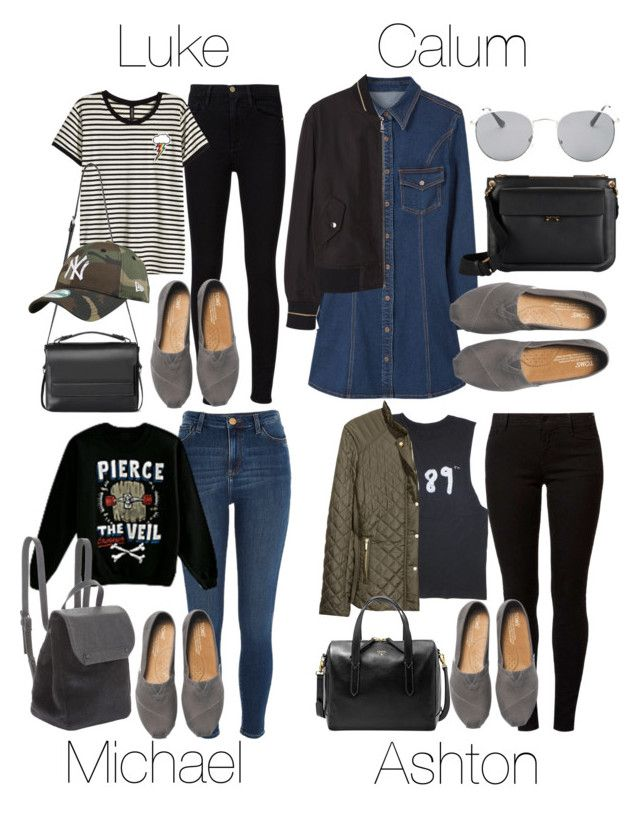 """5SOS Styles: Gray TOMS"" by fivesecondsofinspiration ❤ liked on Polyvore featuring MANGO, TOMS, Marni, Forever 21, River Island, Frame Denim, Dorothy Perkins, H&M, BCBGeneration and FOSSIL"