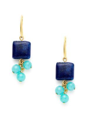 David Aubrey Square Lapis & Dyed Jade Drop Earrings