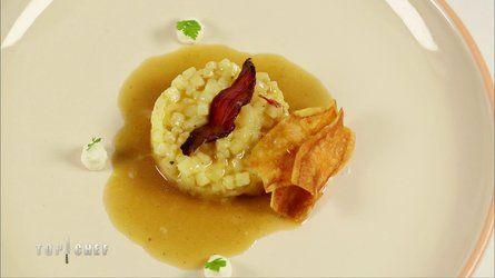 Risotto de pommes de terre, lard, crème de parmesan et jus d'oignon