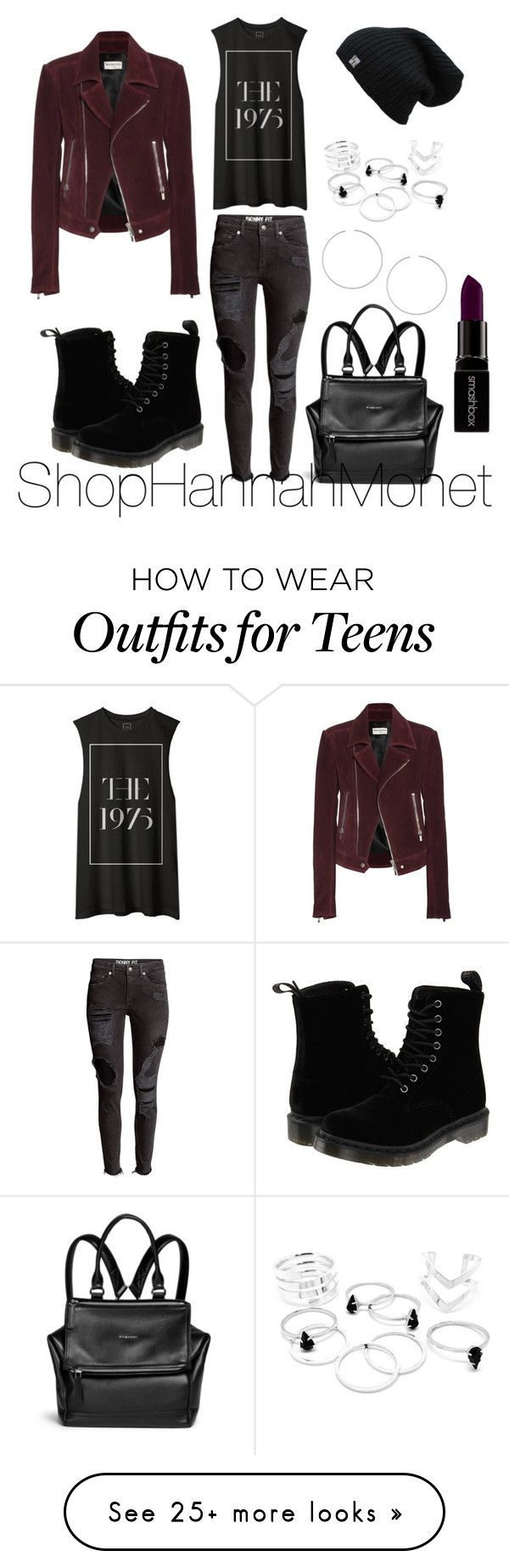 """""""90's Grunge"""" by shophannahmonet-1 on Polyvore featuring Dr. Martens, Balenciaga, Topshop, Givenchy, Smashbox, women's clothing, women, female, woman and misses"""