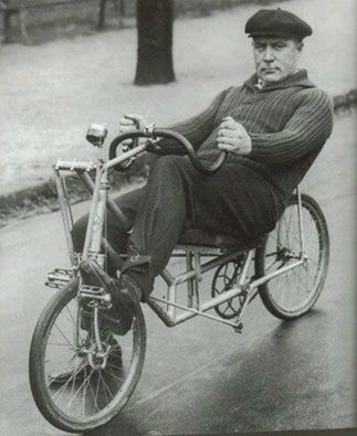 Oscar Egg, early advocate for recumbent bicycles. Dig the cantilever pedal system on this one.