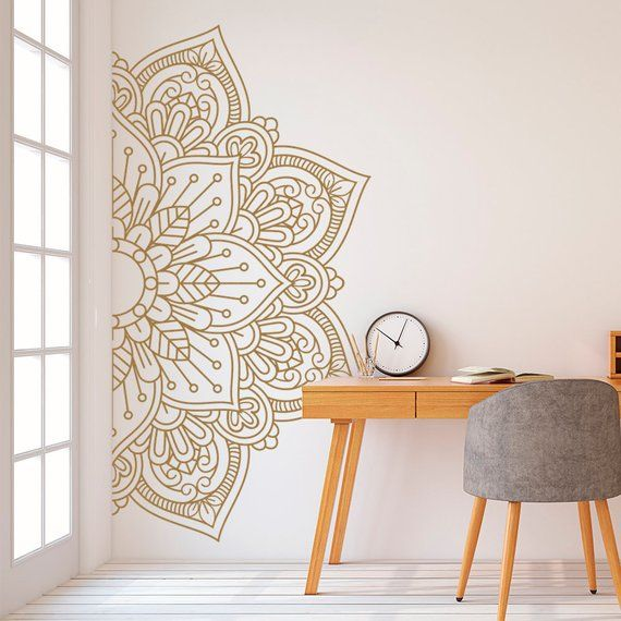 Mandala in Half Wall Sticker, Wall Decal, Decor for Home, Studio, Removable Vinyl Sticker for Meditation, Yoga Wall Art #11