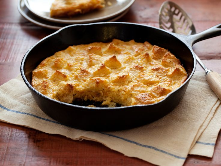 Sweet Corn Bread Pudding recipe from Alton Brown via Food Network
