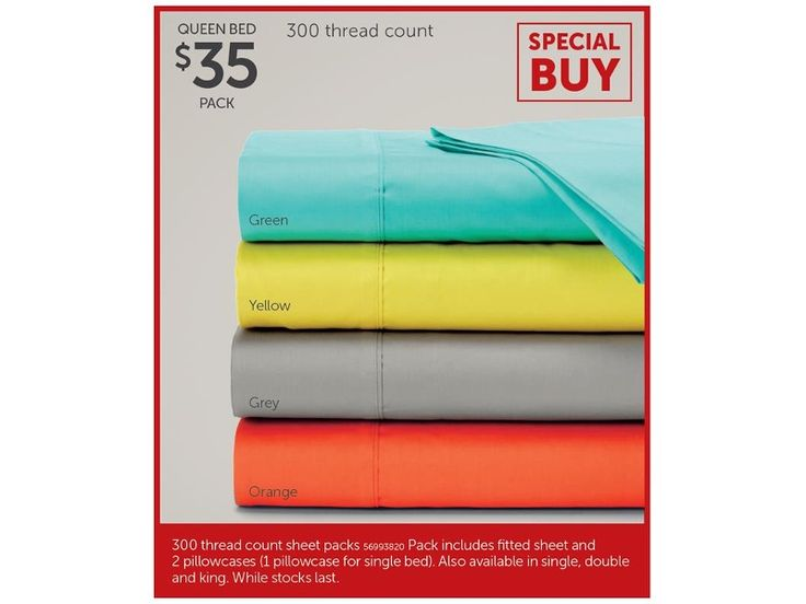 300 Thread Count Sheet Packs Queen Bed