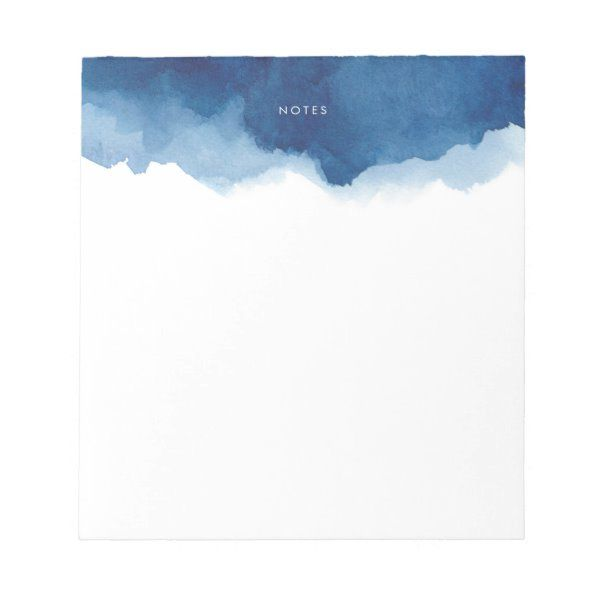 Navy Blue Watercolor Splash Personalized Notepad Zazzle Com