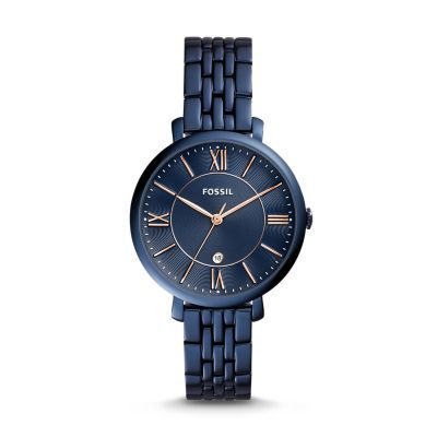 Jacqueline Three-Hand Date Blue Stainless Steel Watch Designed for the tomgirl with a hint of glam, Jacqueline is the watch that pulls it all together. A classic blue stainless steel band, dial and case mirror the night sky, making it her ultimate timepiece of the season.