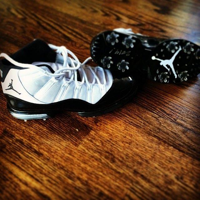 "Air Jordan 11 ""Concord"" Golf Spikes for Keegan Bradley"
