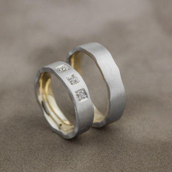 Neta Wedding Rings in 14K White and Yellow  Gold with Natural Diamonds, Diamonds Wedding Rings, Mix Gold Wedding Bands, Handmade Jewelry