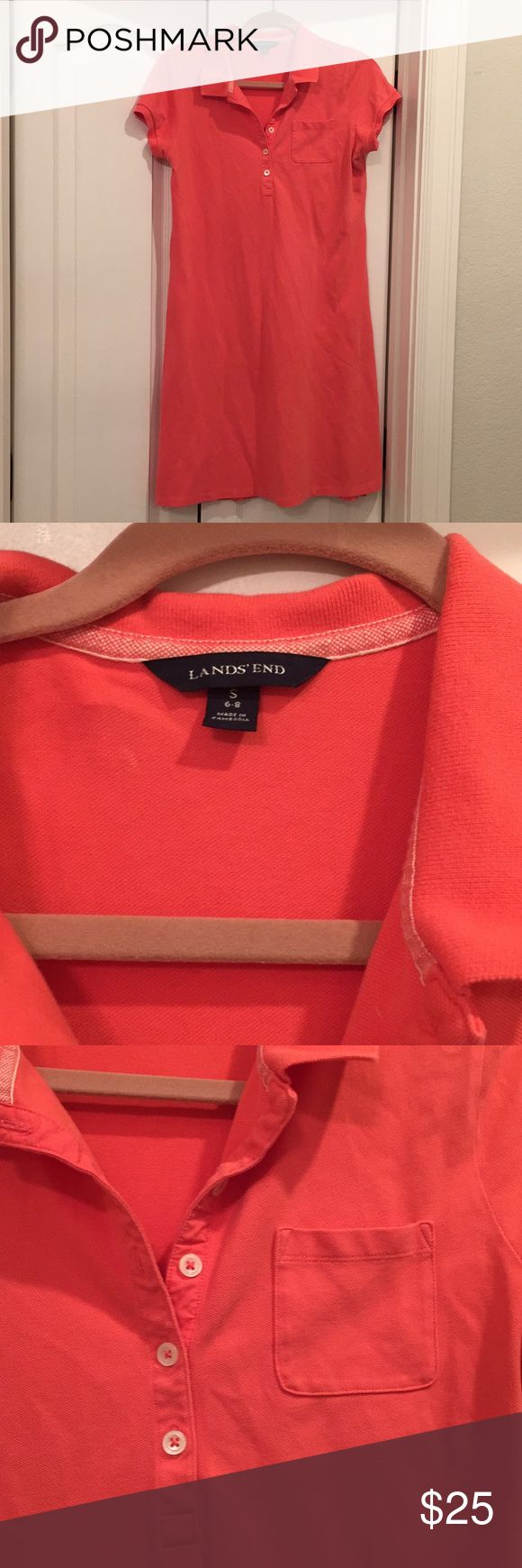 Coral Polo shirt dress Lands End Coral polo shirt dress. Comfortable and easy for spring and summer. Good used condition. From a smoke free and pet free home. Lands' End Dresses