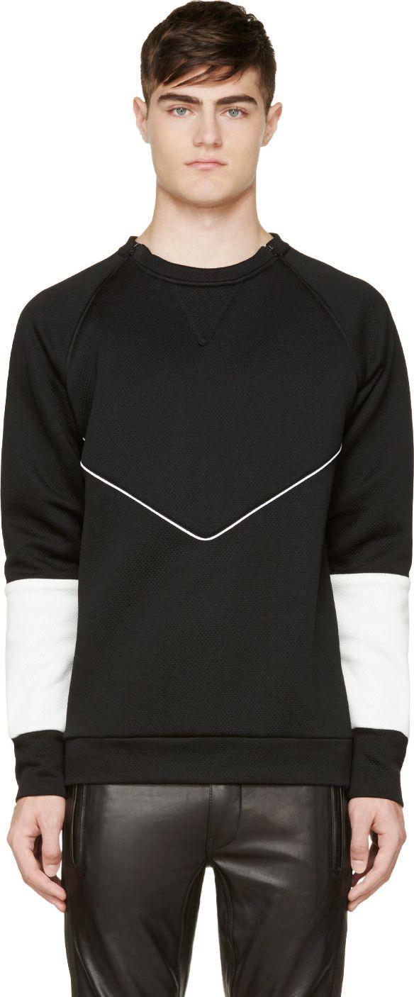 Pyer Moss: Black & White Neoprene Jabber Sweatshirt