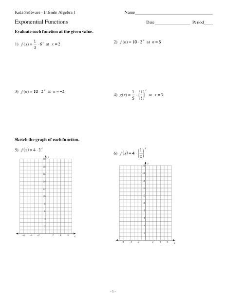 Writing Exponential Functions Worksheet in 2020