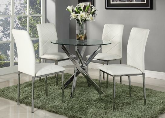 Glass Dining Table Set And With 4 White Faux Leather Chairs Round Designer