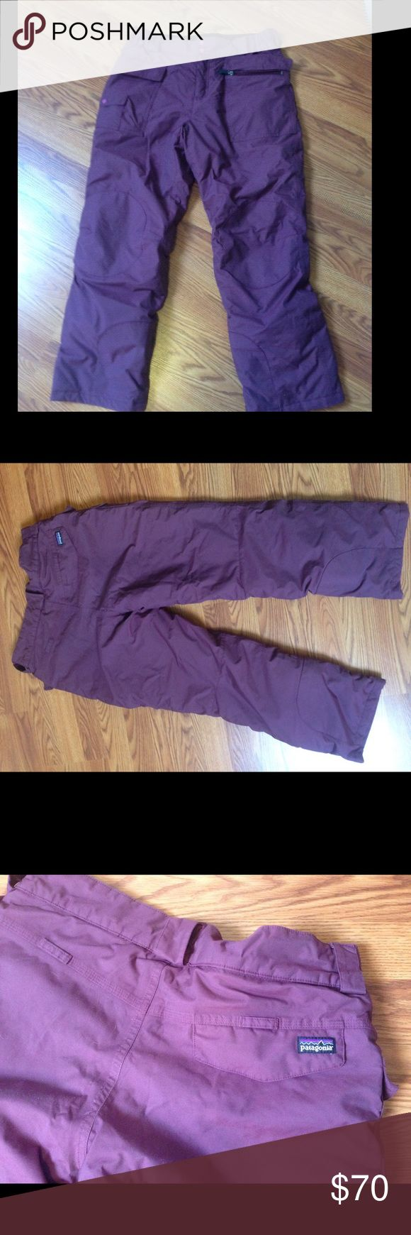Patagonia Ski Pants These ski pants are the best I've ever worn- warmth and water resistant. Really well made and a lot of pockets that all zipper shut. Can fit a lot of different body types and sizes. They're a kids XL but can fit anyone can fit into a woman's small- medium. Patagonia Pants