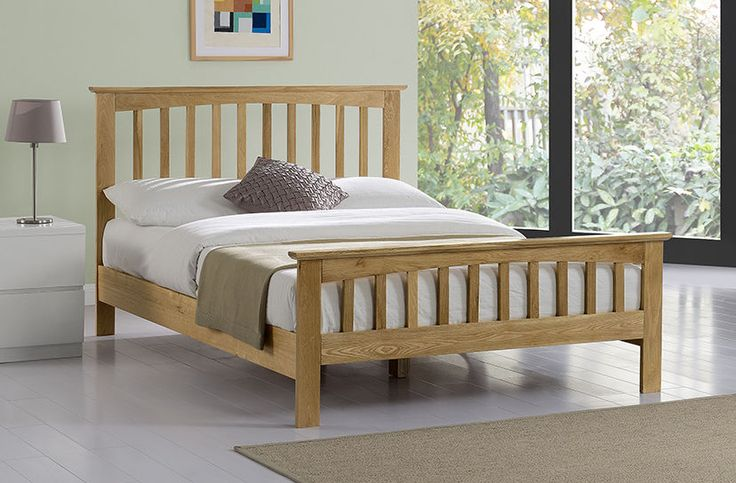 New Cheap Solid Wooden Genuine Real Oak Shaker Style Double King Size Bed Frame