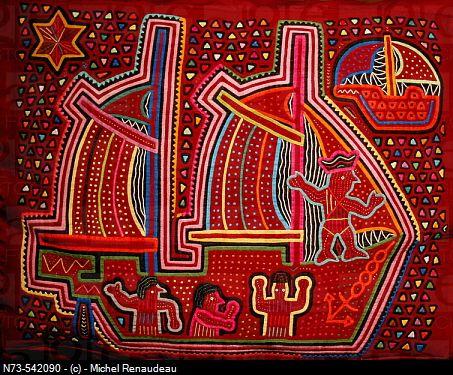 Textile art by the Kuna people, Panama.