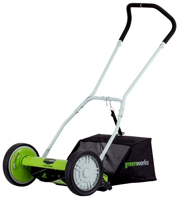 The GreenWorks 25052 16-Inch Reel Lawn Mower with Grass Catcher