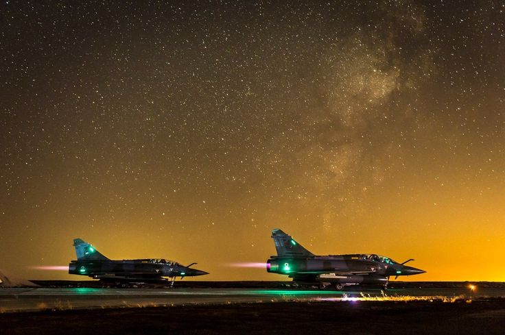 Take off for two French Armée de l'Air Dassault Mirage 2000D  from Prince Hassan airbase in Jordan, at 3:32am, for a mission against the IS in Iraq, July 2015.