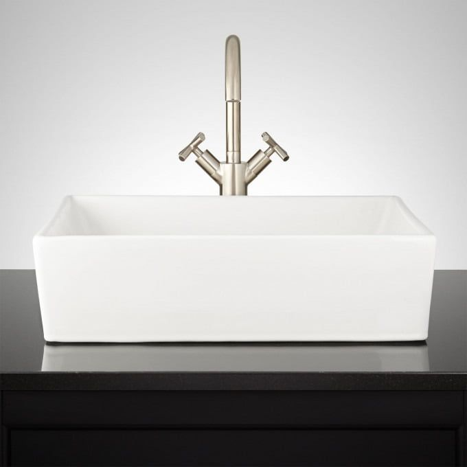 Cierra Large Porcelain Console Sink With Brass Stand Console