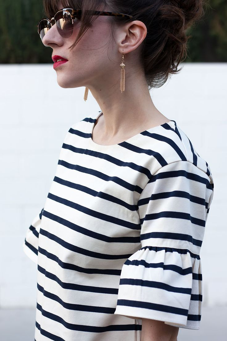 Striped Ruffle Shirt, Tassel Earrings, J.Crew Ruffle Sleeve Top, Striped Top, J.Crew Style, Style Blogger