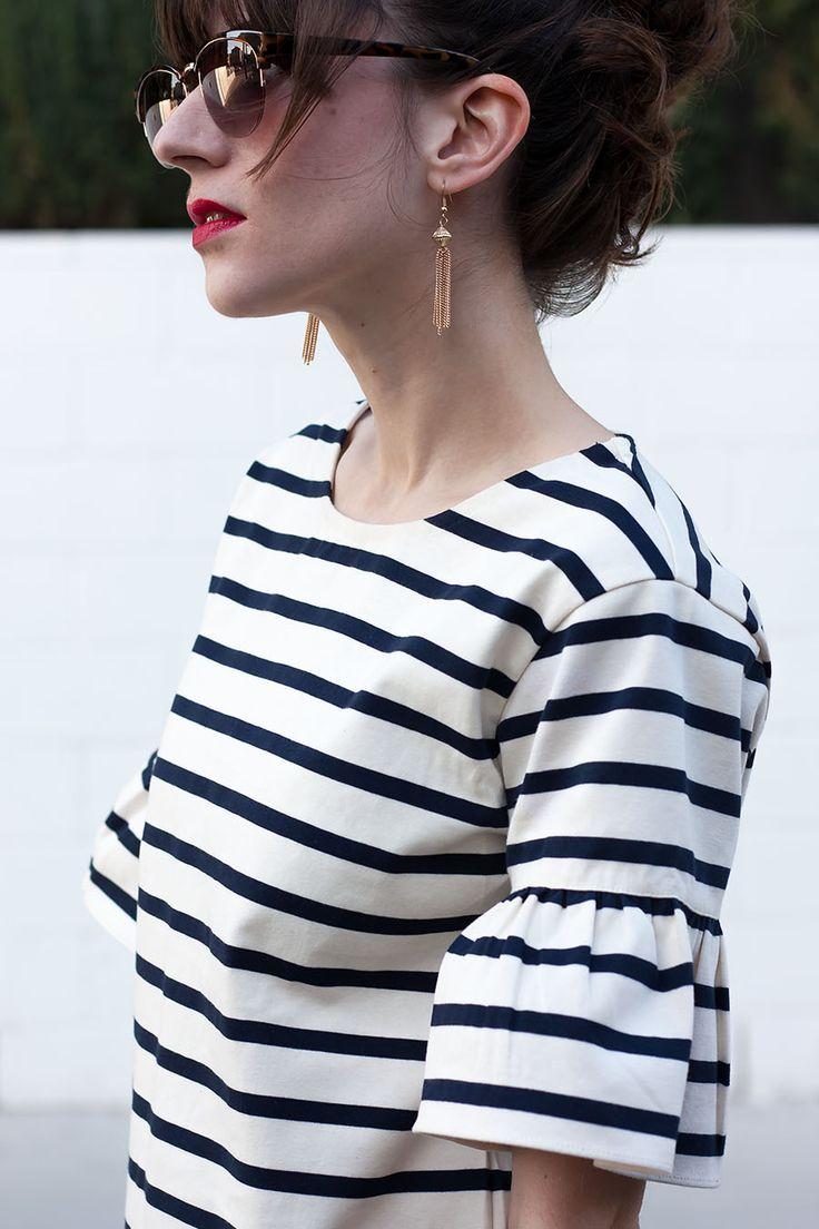 Striped Ruffle Shirt, Tassel Earrings, J.Crew Ruffle Sleeve Top, Striped Top, J.Crew Style, Style Blogger