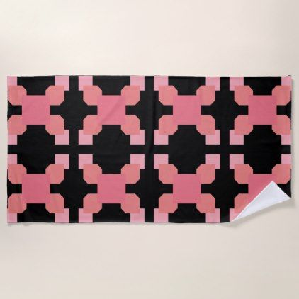 Red And Black Abstract Circle Geometric Pattern Beach Towel