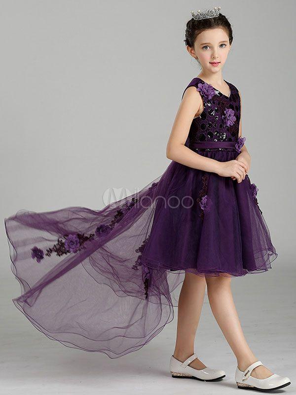Red Flower Girl Dresses Princess V Neck High Low Bows Tulle Kids Dinner  Party Dress  Dresses 46890cabec3f