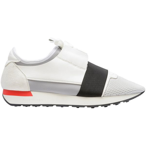 Balenciaga Race Runners ($695) ❤ liked on Polyvore featuring men's fashion, men's shoes, men's sneakers, man shoes race shoes, white, mens slipon shoes, mens mesh shoes, balenciaga mens shoes, mens mesh slip on shoes and mens slip on sneakers