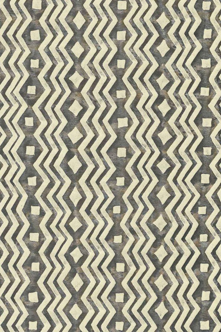 Brown and white zig zag pattern made at the Fortuny factory in Venice. Original Mariano Fortuny design. Part of the 2017 Crossroads collection.