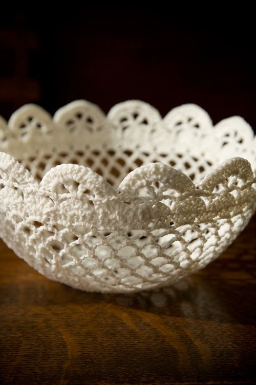 "Free pattern for ""Lace Bowl"" from Linda Permann's book, Crochet Adorned!"