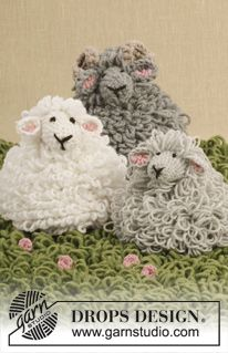 "Crochet DROPS sheep with loop sts in ""Merino Extra Fine"" ~ DROPS Design free pattern"