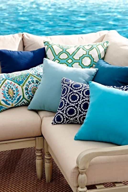 Refresh your outdoor furniture with bright, all-weather cushions and pillows!