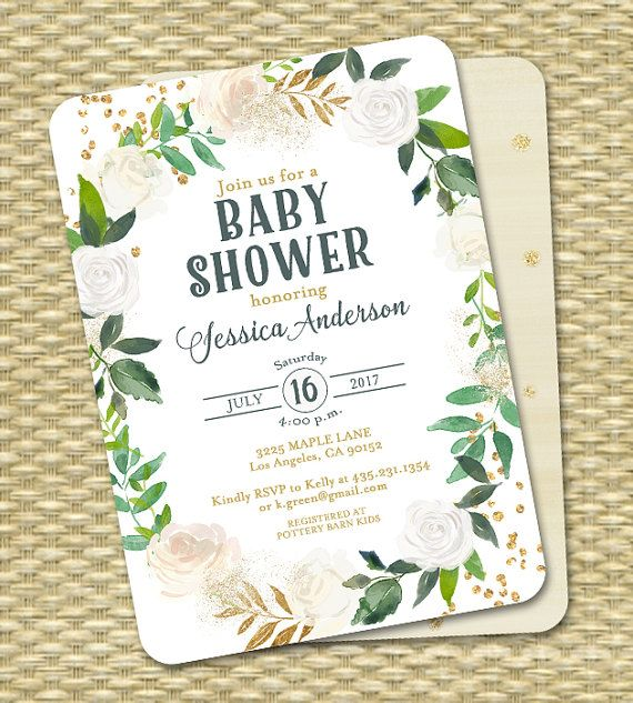 White and Gold Baby Shower Invitation Gold Glitter White Roses #whitebabyshower #whiteandgreenbabyshower #whiteandgoldbabyshower #greenerybabyshower #naturalbabyshower #minimalistbabyshower #outdoorbabyshower #botanicalbabyshower #genderneutral #neutralbabyshower #babyshowerinvitation #babyshowerideas