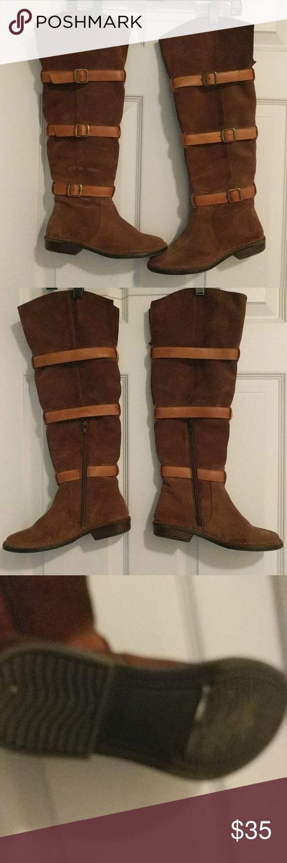 Brown Faux Suede Boots Brown faux suede flat knee boots with buckle detailing...only worn a few times...great condition. Diba Shoes Over the Knee Boots